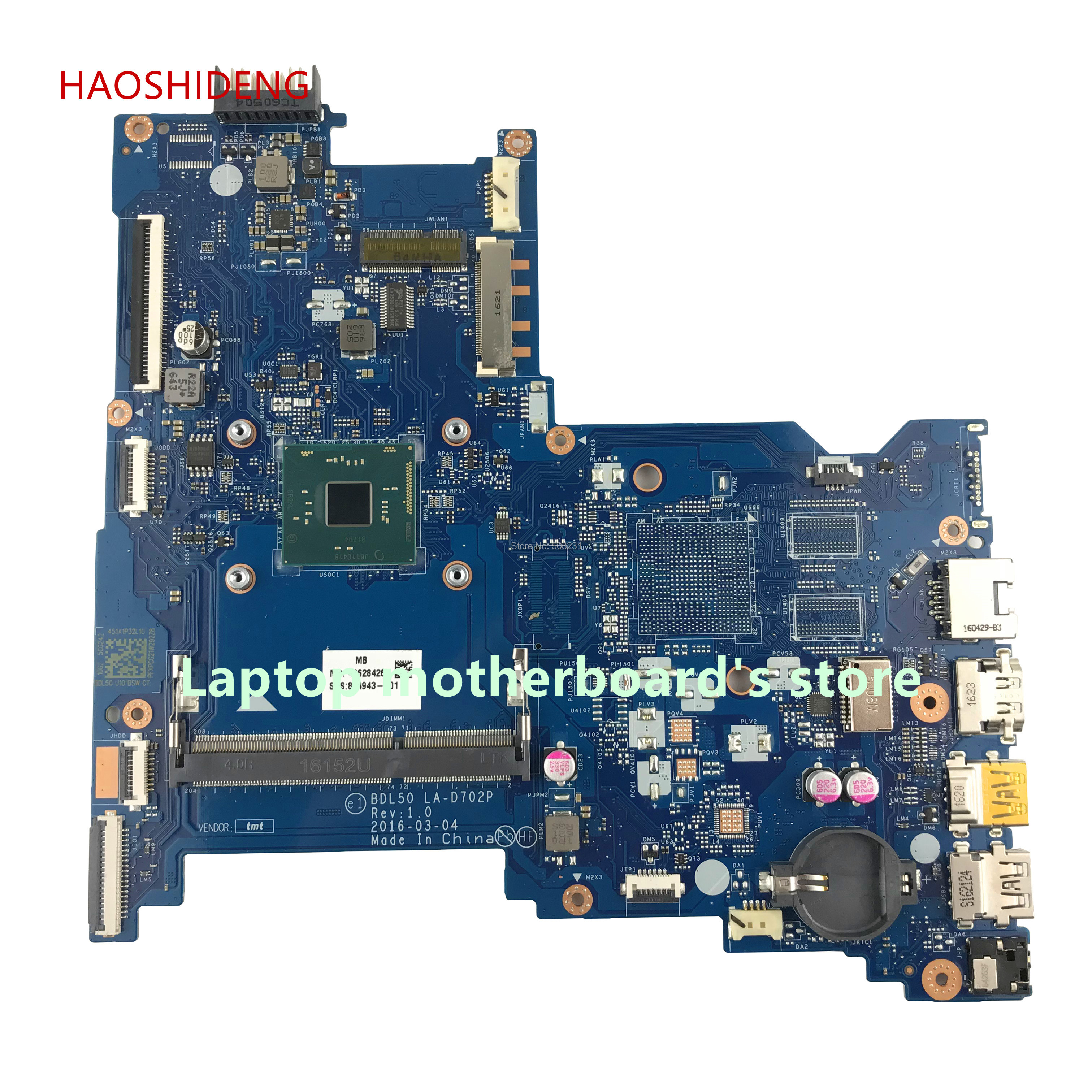 HAOSHIDENG 854943-601 854943-501 LA-D702P for HP NOTEBOOK 15-AY 15-AC 15-AY022DS laptop motherboard with N3710 fully Tested free shipping 854949 601 bdl50 la d702p for hp notebook 15 ay series motherboard with n3160 cpu all functions 100