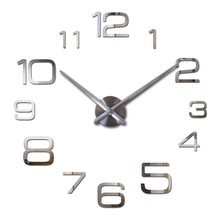 2015 new hot free shipping quartz sale quiet wall clock interesting 3d diy home decor clocks roman numeral art stickers single