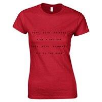 Spielen mit Feen Fahrt Eine Einhorn mit Meerjungfrauen Fliegen der Mond Frauen Mode Niedlichen Stil Buchstaben Drucken T-shirt Tops