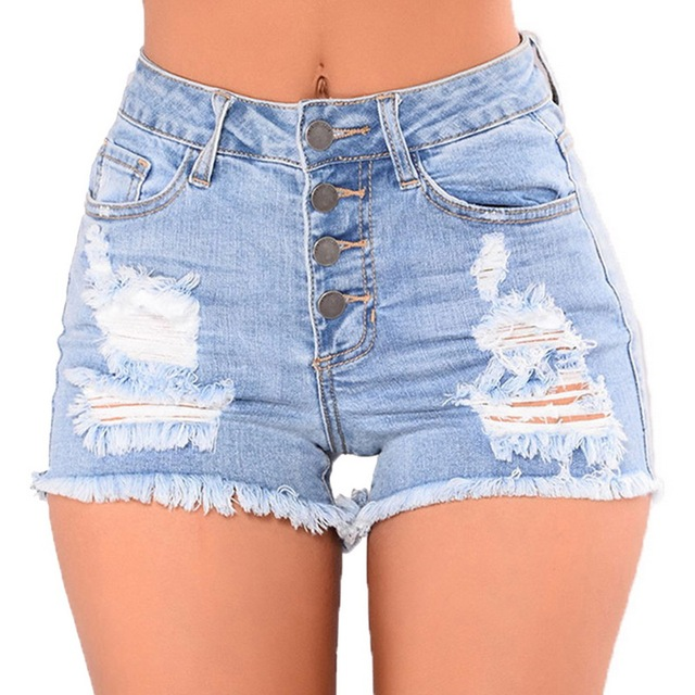 2d1fc87bd8 LASPERAL 2018 Summer High Waist Hole Ripped Jeans Tassel Streetwear Short  Jeans Light Pocket Jean Female Denim Women Shorts