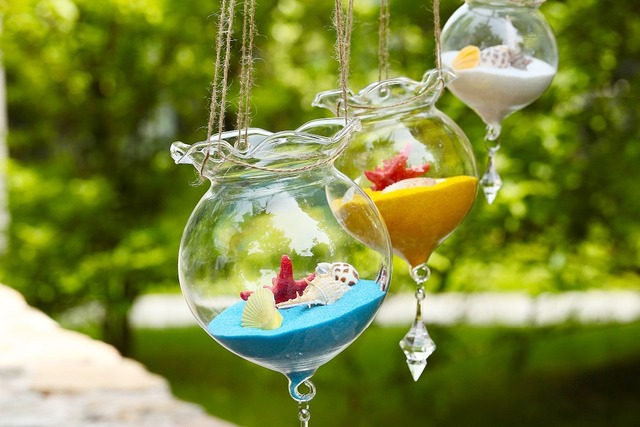 Hanging Glass Vase Fish Tank Glass Terrarium with pendants Candle holders wedding Event Home (ONLY Glass)