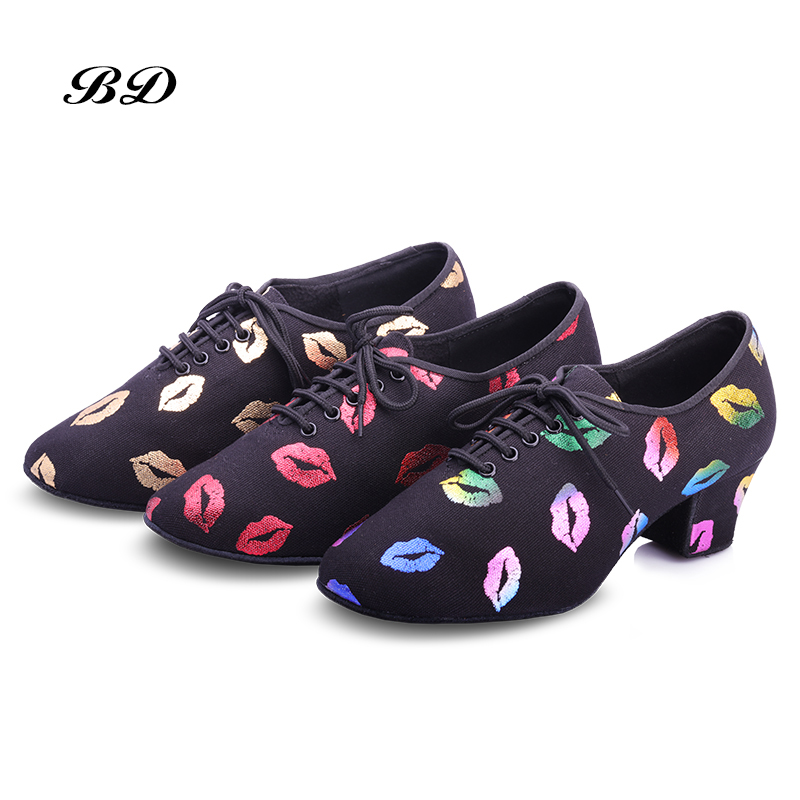 Sports Dance Shoes Adult Jazz Women Shoes Dancing Sneakers Teacher Shoe BD T1-B Discounts Oxford Cloth Free Bags Red Lips NES