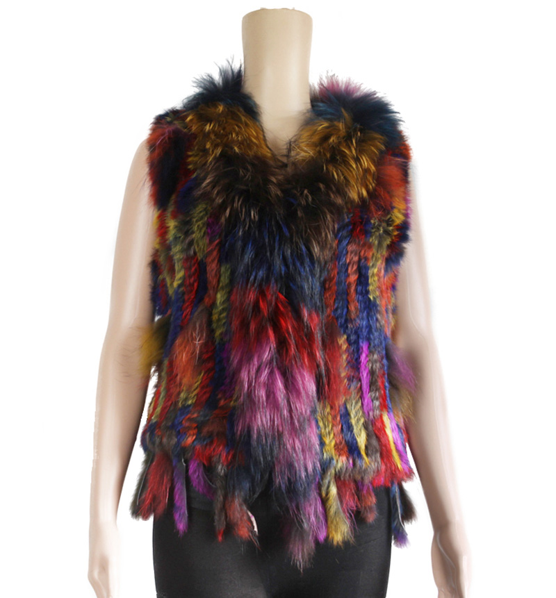 Colorful Women Real Rabbit Fur Knitted Raccoon Fur Vest ...