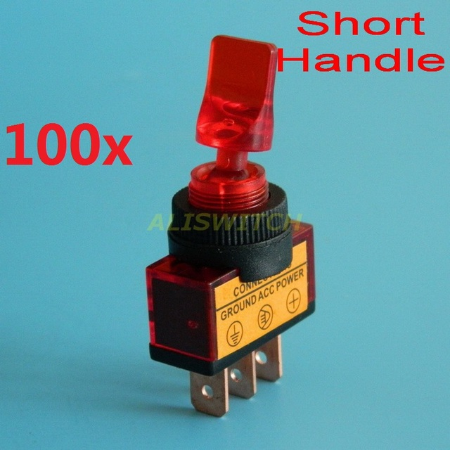100pcs/lot SPST Red Lamp led Car Toggle Switch ASW 14D On Off 12V DC ...