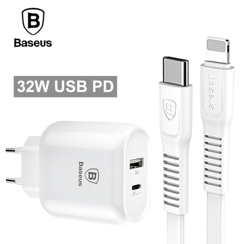 Baseus Type-C PD Quick Charge USB Charger 32W EU Plug Adapter For iPhone X 8 With PD Cable Fast Charging For Samsung S9 S8
