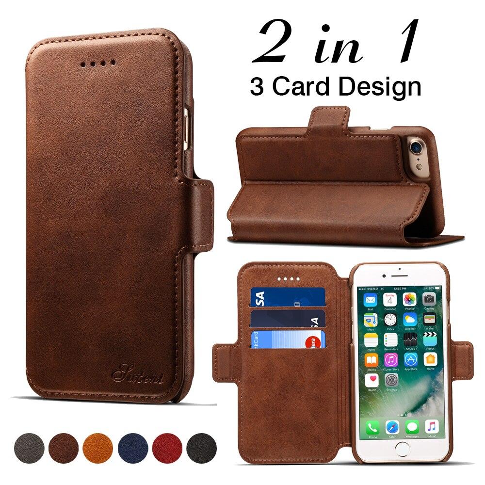 2 в 1 кожаный чехол для iPhone 6 6S 7 8 плюс съемная откидная подставка карт памяти Обложка для Apple iphone 8 Plus телефон Сумки случае Coque