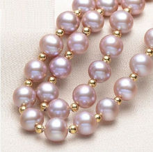 "2016NEW 18""9-10MM NATURAL SOUTH SEA GENUINE PURPLE PEARL NECKLACE Gold Clasp"