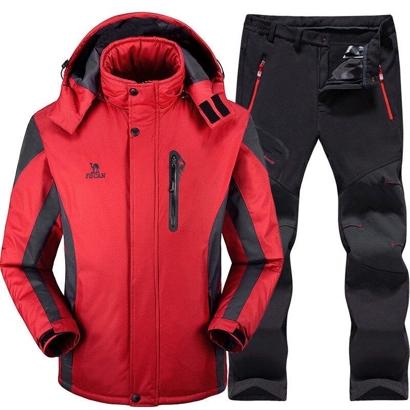 Combinaison de Ski hommes Ski et Snowboard ensembles Super chaud imperméable coupe-vent Snowboard polaire veste + pantalon hiver neige costumes homme - 3