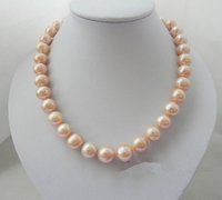 New Arriver Charming Women Jewellery Big Size 12 13mm Pink Freshwater Pearl Necklace 17inch Rhinestone Magnet Clasp