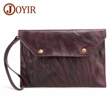 JOYIR Men Wallets Handy Bags Genuine Leather Mens Clutch Card Holder Phone Pocket Large Capacity Business Ipad Cases New