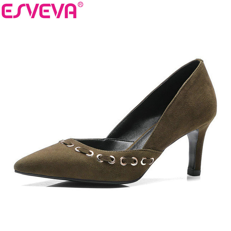 ESVEVA 2017 Western Thin High Heel Women Pumps Genuine Leather Black Stiletto Pointed Toe Two-Piece Sexy Wedding Shoe Size 34-39 esveva sexy flock thin high heel women pumps summer party pointed toe woman pumps ankle strap ladies wedding shoe size 34 43