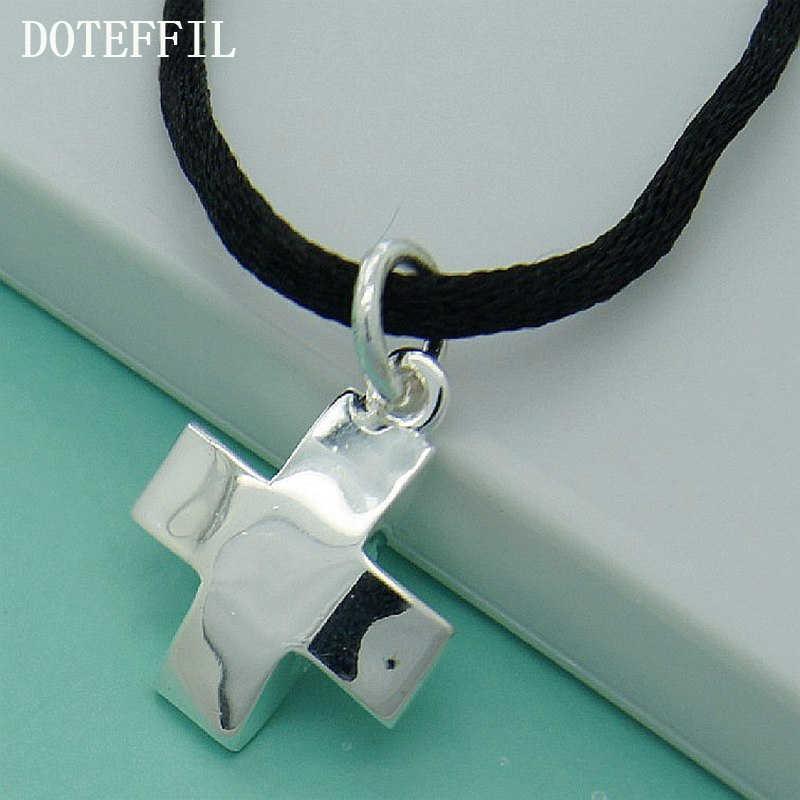 高品質 925 シルバー色プロモーションアイテム黒ロープチェーンクロスネックレスアンティークジュエリー人気ファッションネックレス