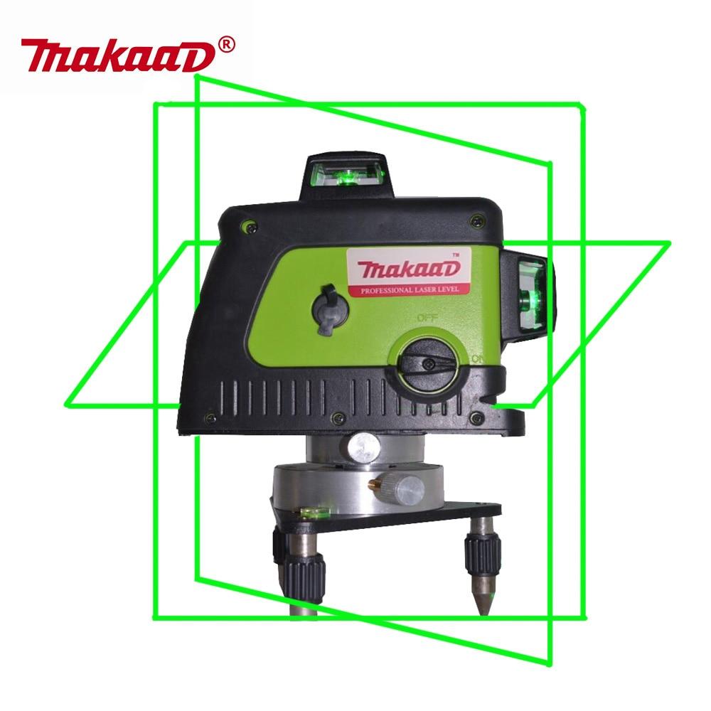 купить Makaad 12 Lines 3D Laser Level Self-Leveling 360 Horizontal And Vertical Cross Super Powerful green Laser Beam level laser по цене 6572.64 рублей