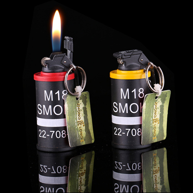 US $8 95 |2015 Novelty Metal M18 Smoke Grenades Shaped Lighter Butane Gas  Grinding Wheel Lighter Refillable Cigarette Lighters For Smoking-in  Lighters