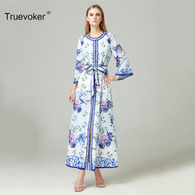 Truevoker European Autumn Designer Dress Women s High Quality Long Sleeve  Vintage Blue Floral Printed Loose Tied Waist Long Gown 60aeb555d5f2