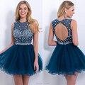 2016 nova moda frete grátis A linha de Jewel decote frisada Sheer curto graduação vestido do baile vestido