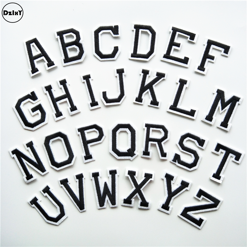 26 pcs lot english letters parches embroidery iron on for Diy iron on letters for clothing
