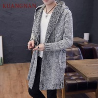 KUANGNAN Solid Long Cardigan Men Sweater Knit Winter Hooded Cardigan Men Sweater Man Long Mens Cardigans Sweater Male 2018 New