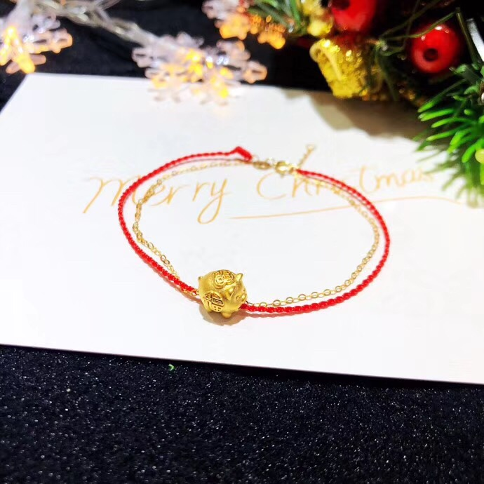 Pure 24K 999 Yellow 3D Gold Year of the Pig Bracelet Luck Pig Zodiac O Chain For Women Baby Female Bracelet 16cmL Within 1gPure 24K 999 Yellow 3D Gold Year of the Pig Bracelet Luck Pig Zodiac O Chain For Women Baby Female Bracelet 16cmL Within 1g