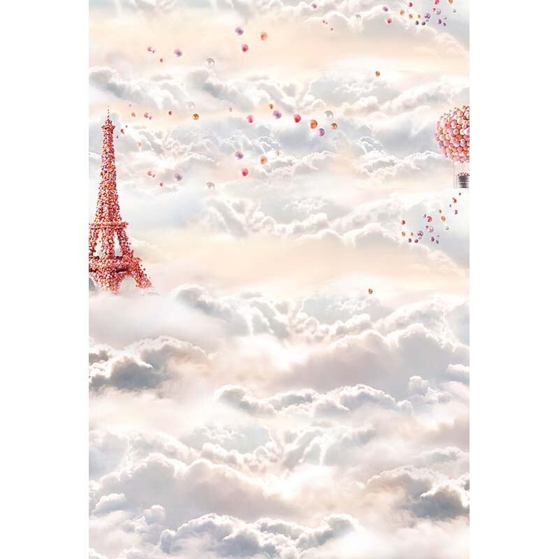 Custom vinyl cloth cloud sky Eiffel Tower wonderland photo studio backgrounds for newborn kids photography backdrops CM-6261 custom vinyl cloth broken wall photo