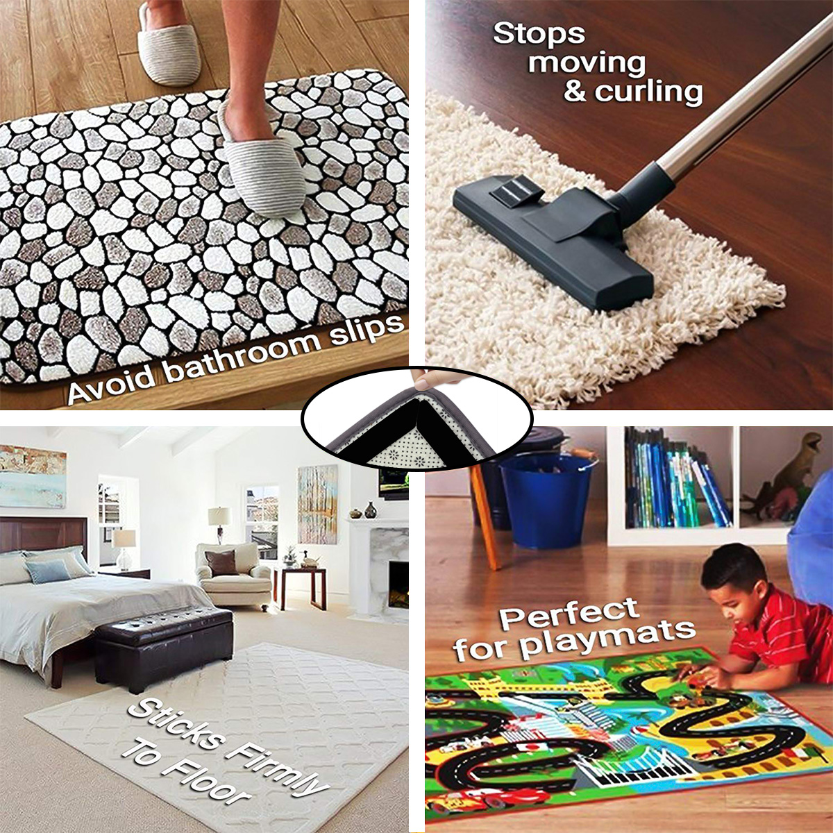 Rug Gripper Tape Pads Anti Slip Non Skid Carpet Corners Easily Stick
