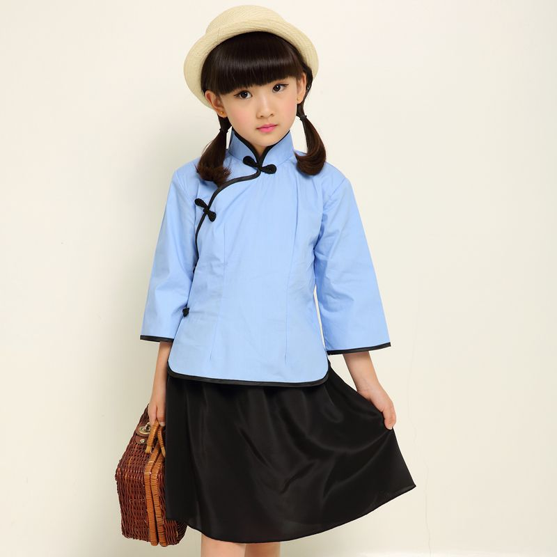 Hot Sell Kids Chinese Ancient Costume Children Chinese Folk Clothes 2 Pcs Girl School -3963