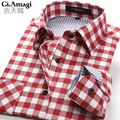 New Fashion 2015 Fall Winter Men Casual Plaid Shirt Long Sleeve Slim Fit cotton Flannel Man Clothes Mens Shirts 9colours S-4XL