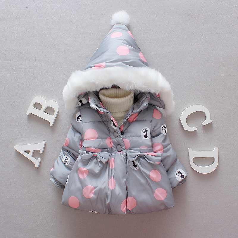 ChanJoyCC Winter Hot Sale Childrens Coat Baby Girls Long Sleeve Fashion Polka Dot Thickening Hooded Warm Outerwear For Kids