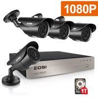 ZOSI 4CH полный TRUE 1080 P видео безопасности DVR 4X1080 HD Открытый всепогодный камеры скрытого видеонаблюдения системы 1 ТБ HDD