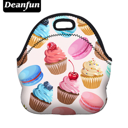 Deanfun Women Lunch Bag 3D Printed Neoprene Waterproof Zipper  Hot sale for Food Package 50807