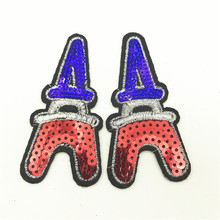 50pcs Wholesale Cartoon Paris Tower Sequin Patches Iron on for Clothing Kids Embellished Patch Clothes  8.0*3.5cm