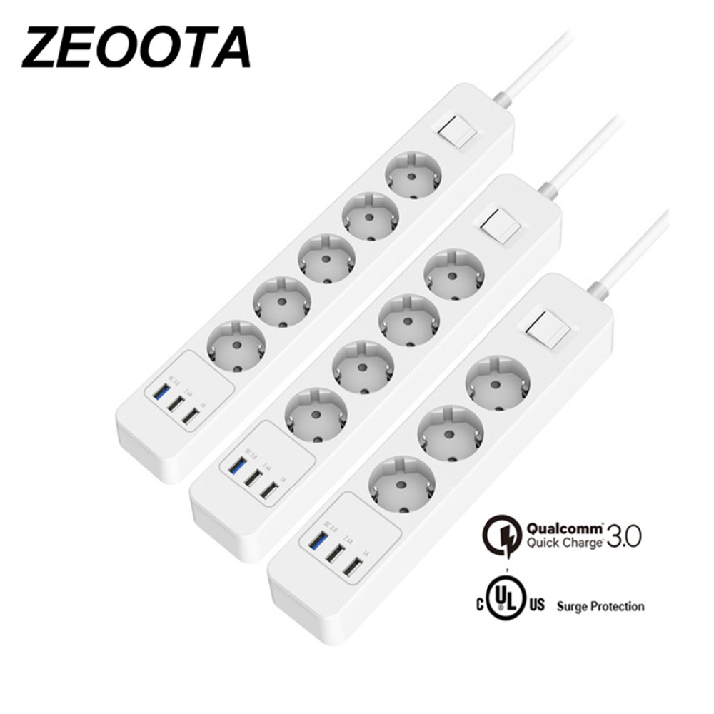 Power Strip 3/4/5 AC Outlets Sockets EU Plug Surge Protectorwith 3 USB QC3.0 Fast/Rapid/Quick Charger and 1.5m Extension Cable tronsmart quick charge 3 0 usb rapid wall charger stand up charger
