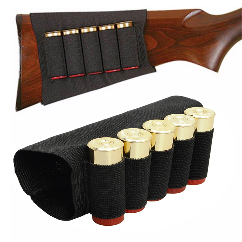 Utomhus Airsoft Rifle Shotgun Shells 5 Buttpatroner Lager Shell Hållare Elastiska Shotshell Ammunition Carrier Jakt Kits