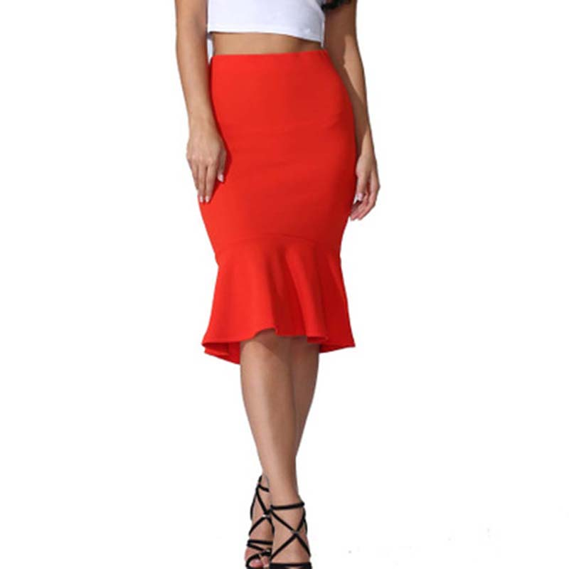 Solid Color Large Size Knee Length Trumpet Skirts Lady Office Wear Skirt New Summer Fashion Women High Waist Mermaid Skirt