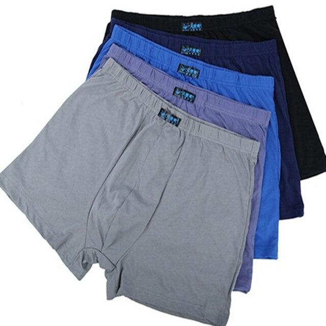 5Pcs/lots Male Mens Long Boxer Shorts Cotton Panties Mens Large Size 5XL 6XL 7XL 8XL Underpant Fat Fashion Sexy Mr Underwear