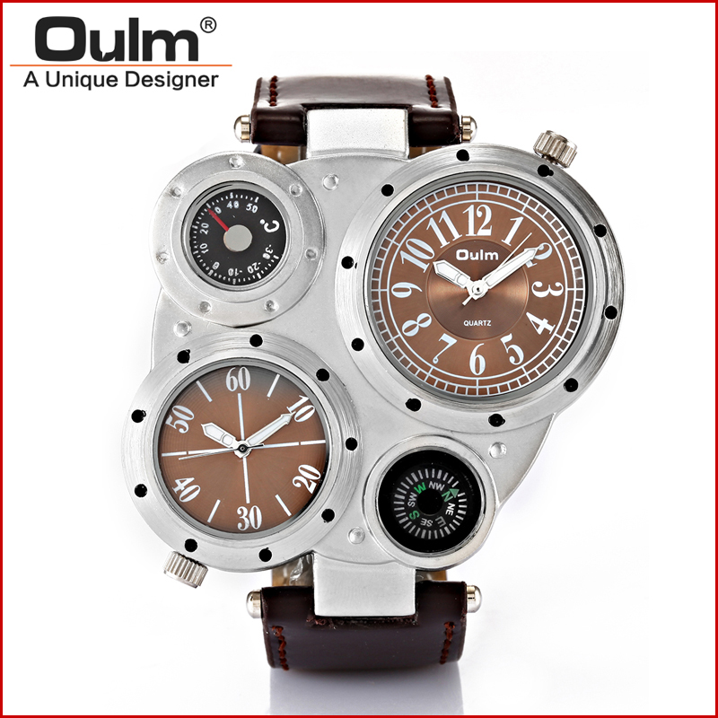 Army Military Fashion Brand OULM HP 9415 Cool Men Watch Dual Movts Compass Thermometer wristwatch oulm 9415 original brand watches for men dual time compass quartz watch relogio militar masculino grande montre homme boussole