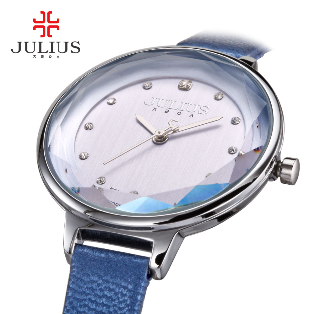 New Lady Women's Watch Japan Quartz Fine Fashion Hours Dress Bracelet Simple Leather School Girl Birthday Gift Julius Box new simple cutting glass women s watch japan quartz hours fashion dress stainless steel bracelet birthday girl gift julius box