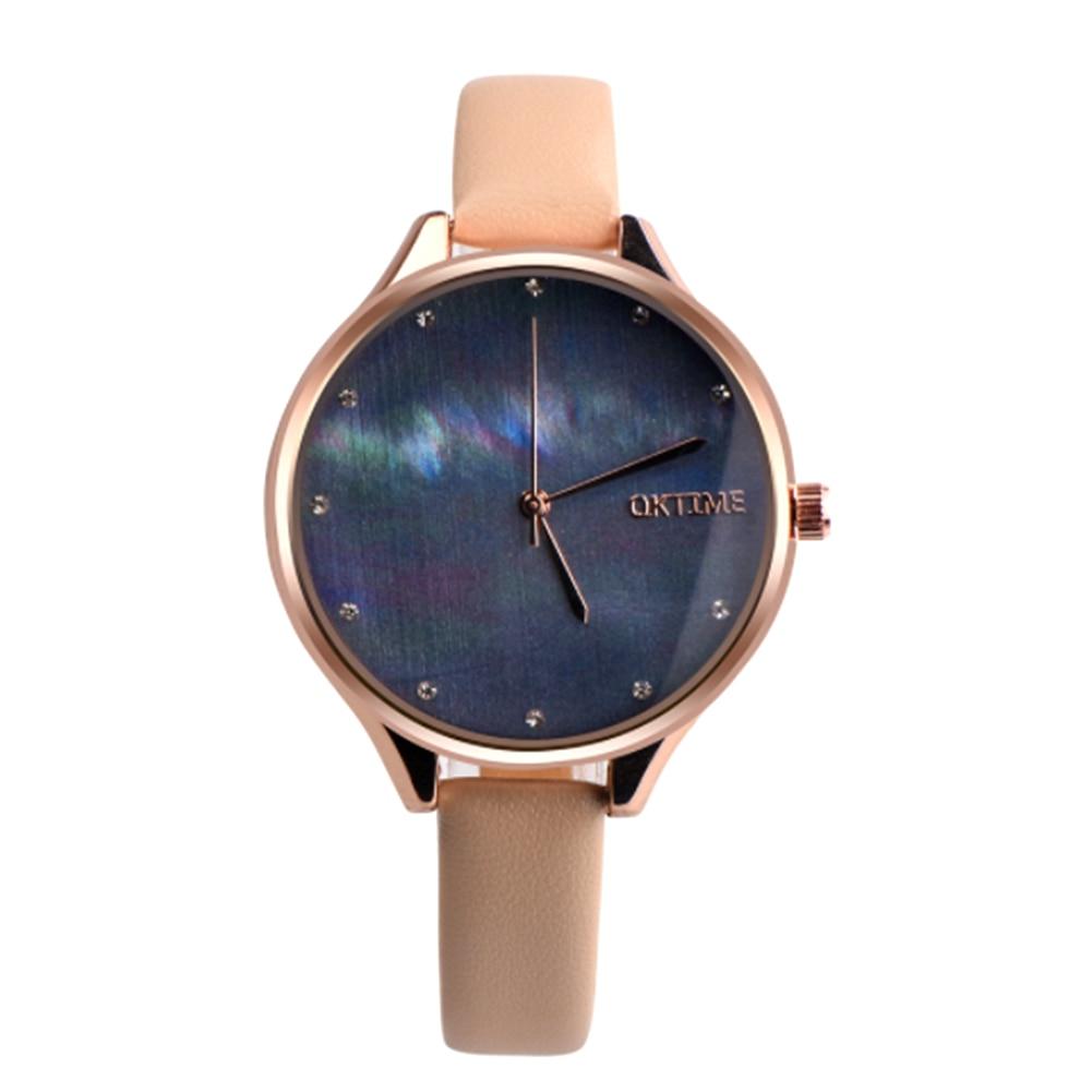 где купить  2017 New Fashion Women Watch Shell Pattern Leather Band Quartz Wrist Watch Relojes mujer relogio feminino kol saati  по лучшей цене