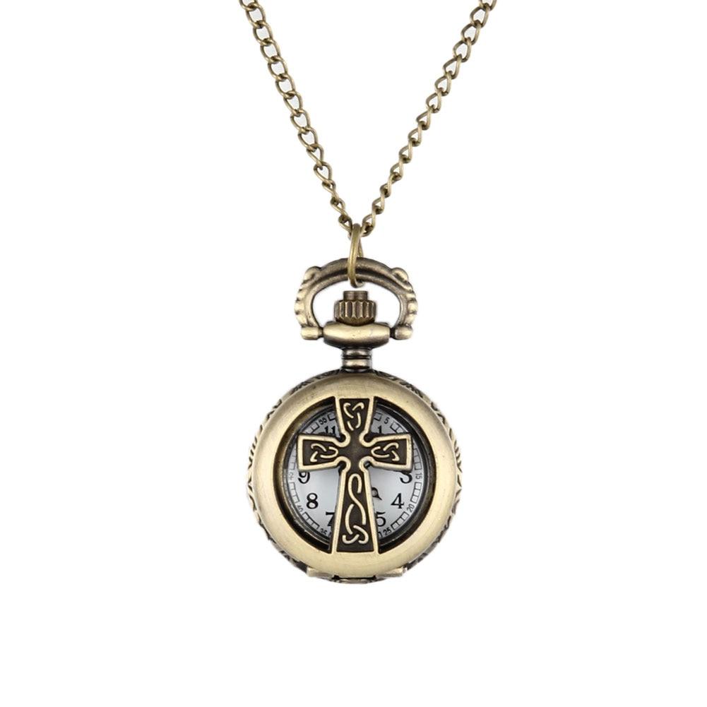New Vintage Bronze Crucifix Cross Hollow Quartz Pocket Watch Necklace Pendant Women Men's Gifts LL@17