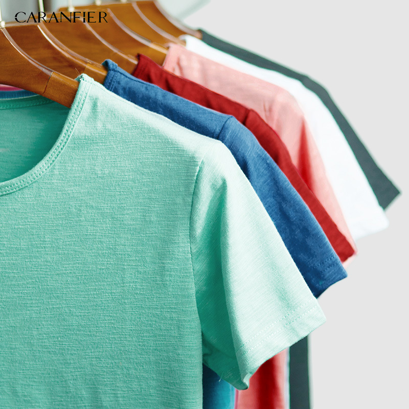 CARANFIER 6PCS Men   T     shirt   Fashion Cotton Mens Tshirts White Tee   shirt   casual Summer Tshirts men Camiseta Masculina clothes Top