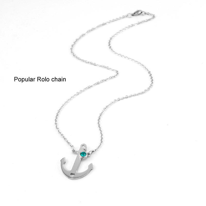 Jewellery & Watches Birth Stones Heart Choker Female Women Jewelry Lucky Stone Charm Gift Rolo Chain Stainless Steel Necklace Pulseras Mujer
