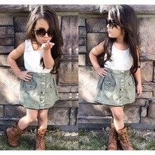 Летние девушки джинсовая юбка комплектов одежды для детей , топы и мода юбки детской одежды комплект свободного покроя дизайн D04X07