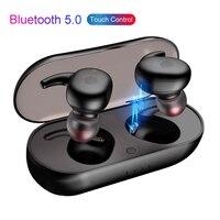 Наушники-вкладыши TWS наушники мини двойной V5.0 Беспроводной наушники Bluetooth 3D стерео звук наушники с Портативный микрофоном и зарядным устрой...
