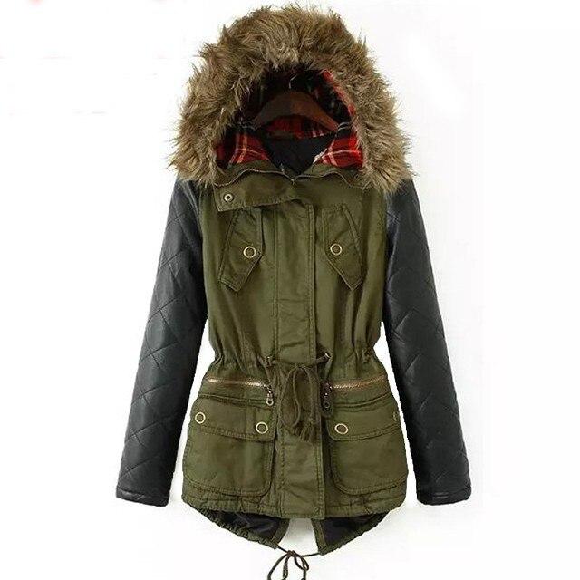 5XL Winter Jacket Women 2017 Parka New Plus Size Cotton Padded Coat Leather Sleeve Hooded Outwear Drawstring Waist Jacket Coat
