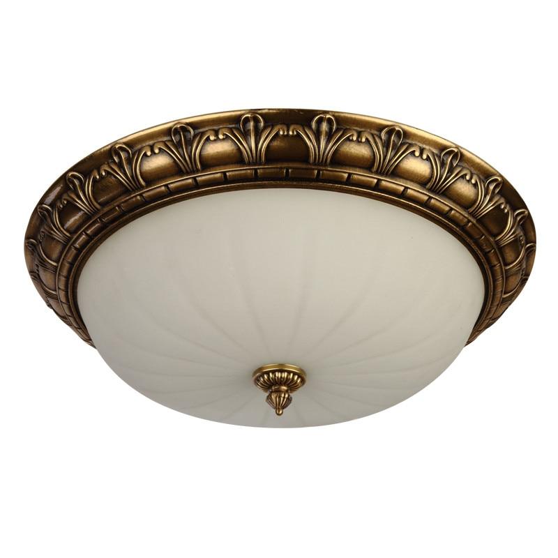 Evropská měděná stropní lampa E27 kulaté sklo