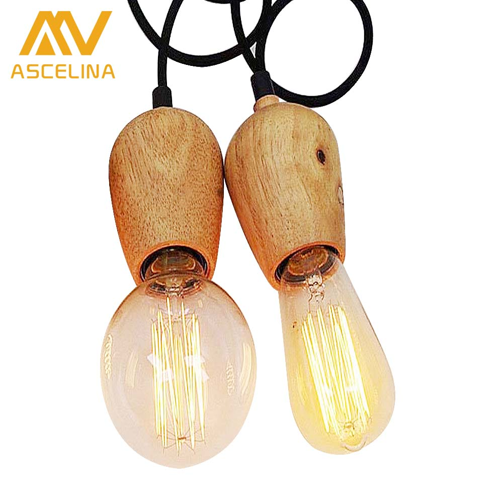 Vintage pendant light Oak Wood Retro lamp 120cm color wire E27/E26 socket wood lampholder Hanging light fixture.no light bulbs