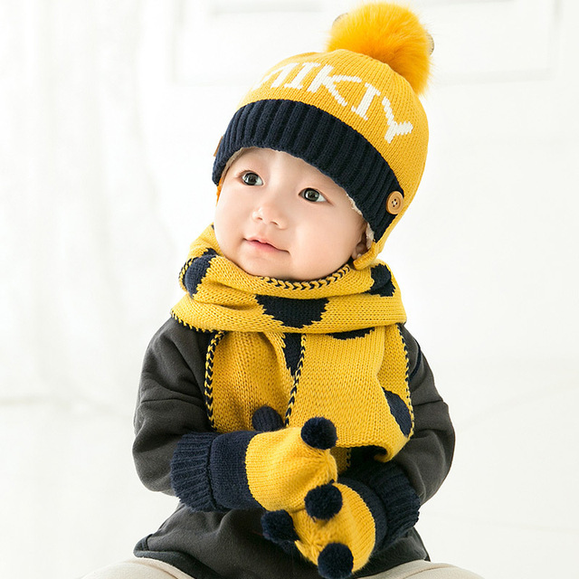 853a58ed647 KACAKID Unisex Winter Baby Hats Scarf Gloves 3 Pieces Set Cute Letters Kids  Children Baby Boys Girls Hats Scarf Gloves Sets 5288
