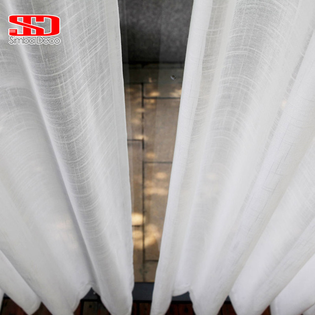 Bianco Tulle Tende per il Salone Soild Croce In Cotone e Lino Tessuto Puro Camer
