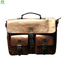 Crazy horse Leather men Handbags Vintage Multipurpose men Handbag Shoulder Bags Brand Business men bag new Fashion Travel Bag