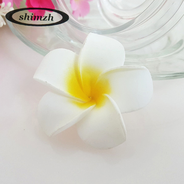 Aliexpress buy shimzh 50pcslot plumeria hawaiian flowers shimzh 50pcslot plumeria hawaiian flowers artificial silk fake egg flower for wedding party decoration mightylinksfo